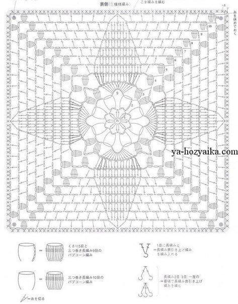 схема вязания крючком на стулья квадратные