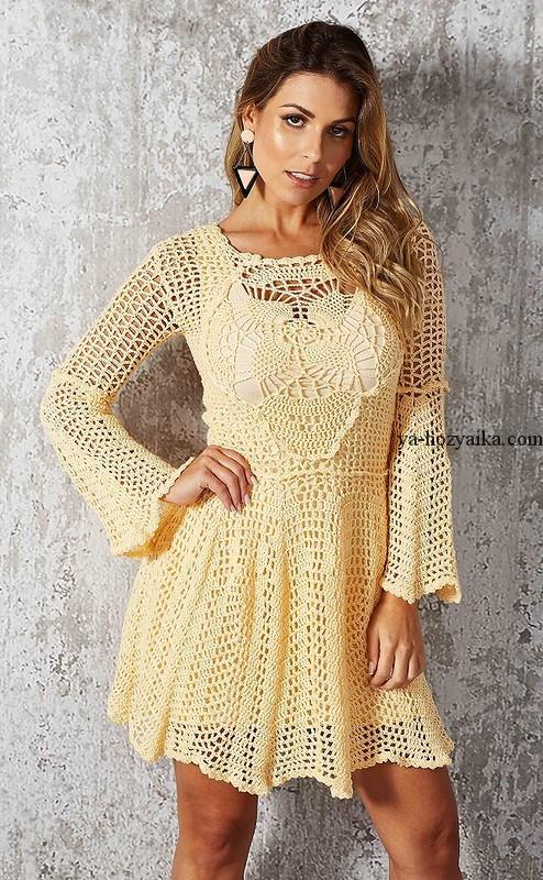 Вязание крючком ажурное платье для женщин 179