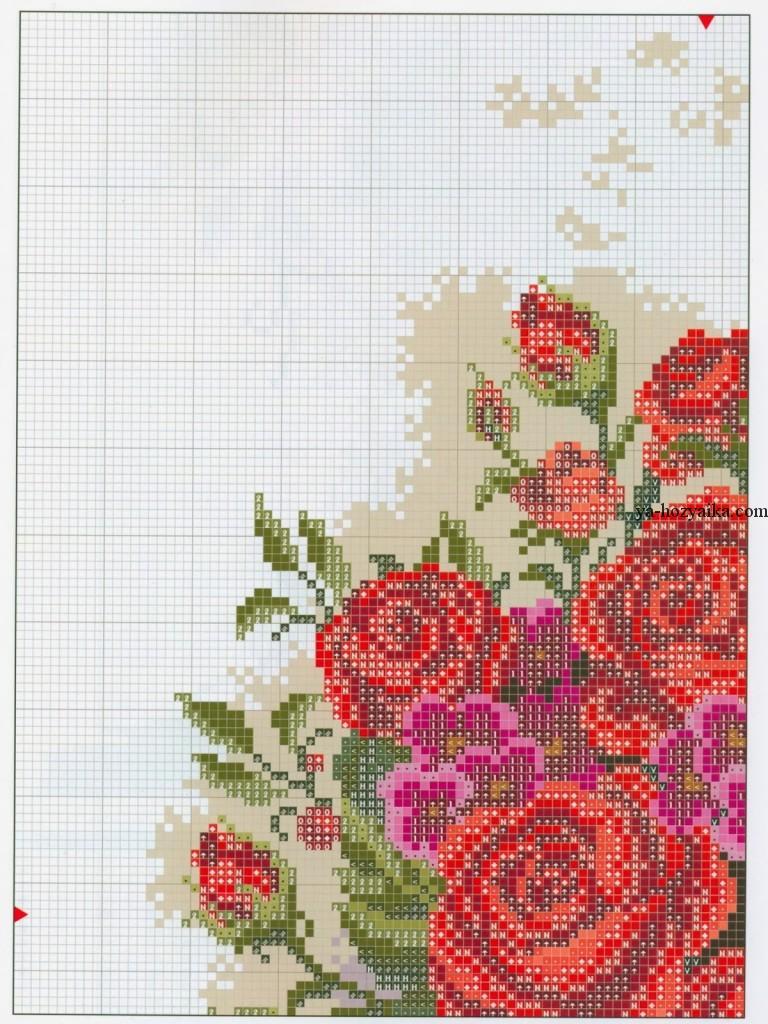 Крест схемы вышивки розы в вазе