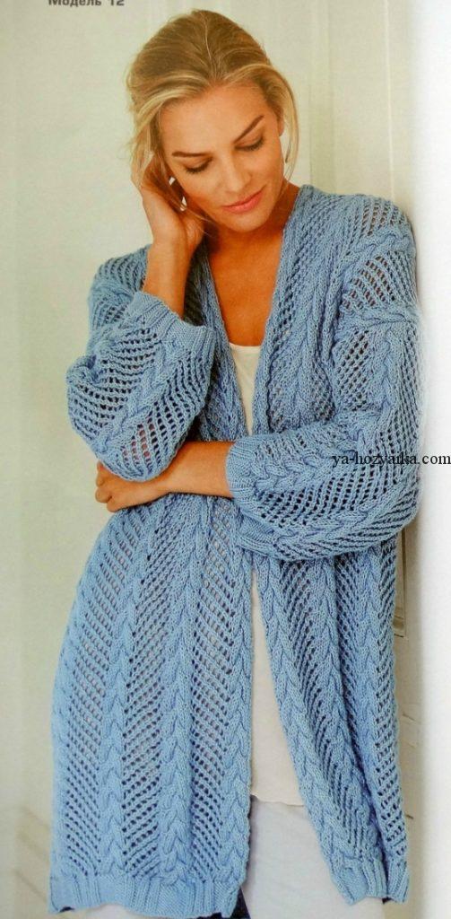 вязание спицами для женщин модные пальто