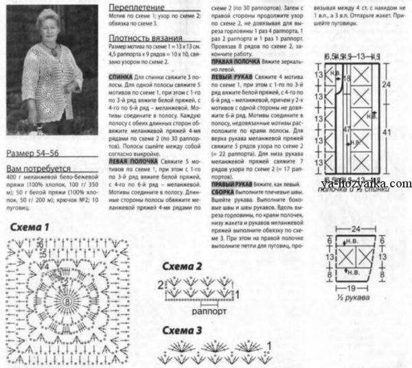 Кофта спицами для полных схемы и описание