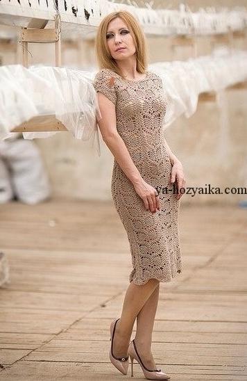 Платье из тонкой пряжи связать