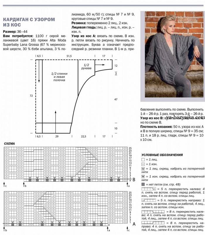 Узоры и схемы для вязания кардигана 69