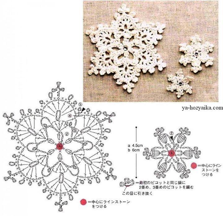ажурные снежинки вязание схемы