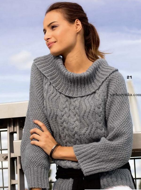 Вязание женские свитера с горловиной