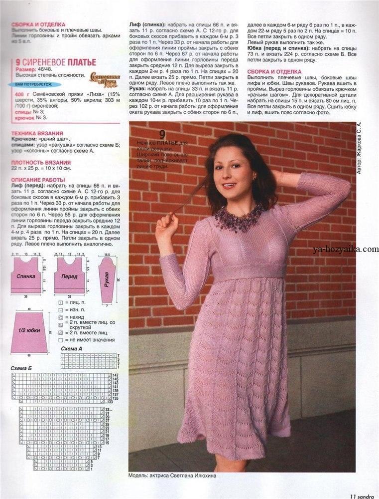 Вязание теплого платья на спицах для 750