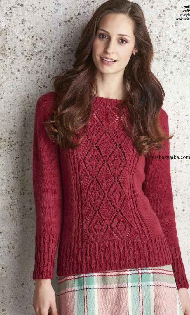 Женский пуловер спицами схема фото 923