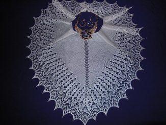 шаль, ажурная, описание, вязание спицами