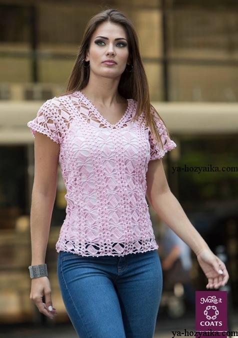 блуза, схема, вязание крючком, розовая