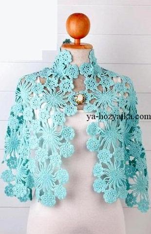 красивая шаль из цветочных мотивов крючком схема вязания шали из