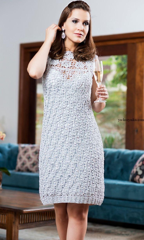 Нарядные платья крючком со схемами фото 782