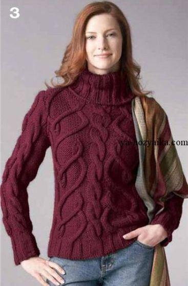 Женский вязаный свитер с рукавом реглан. Вязание спицами ...