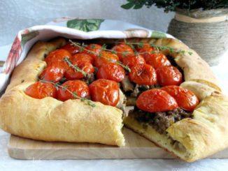 пирог, выпечка, домашняя, томаты
