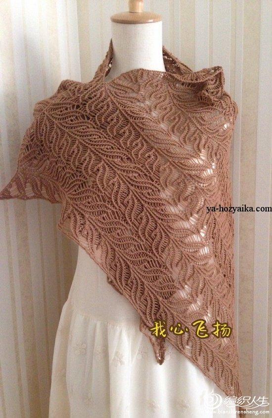 вязание спицами ажурный платок