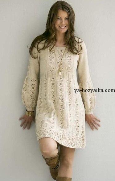 платье спицами с описанием вязание красивого платья спицами