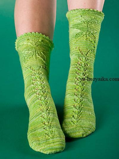 носки спицами с узором бабочка вязание ажурных носков спицами