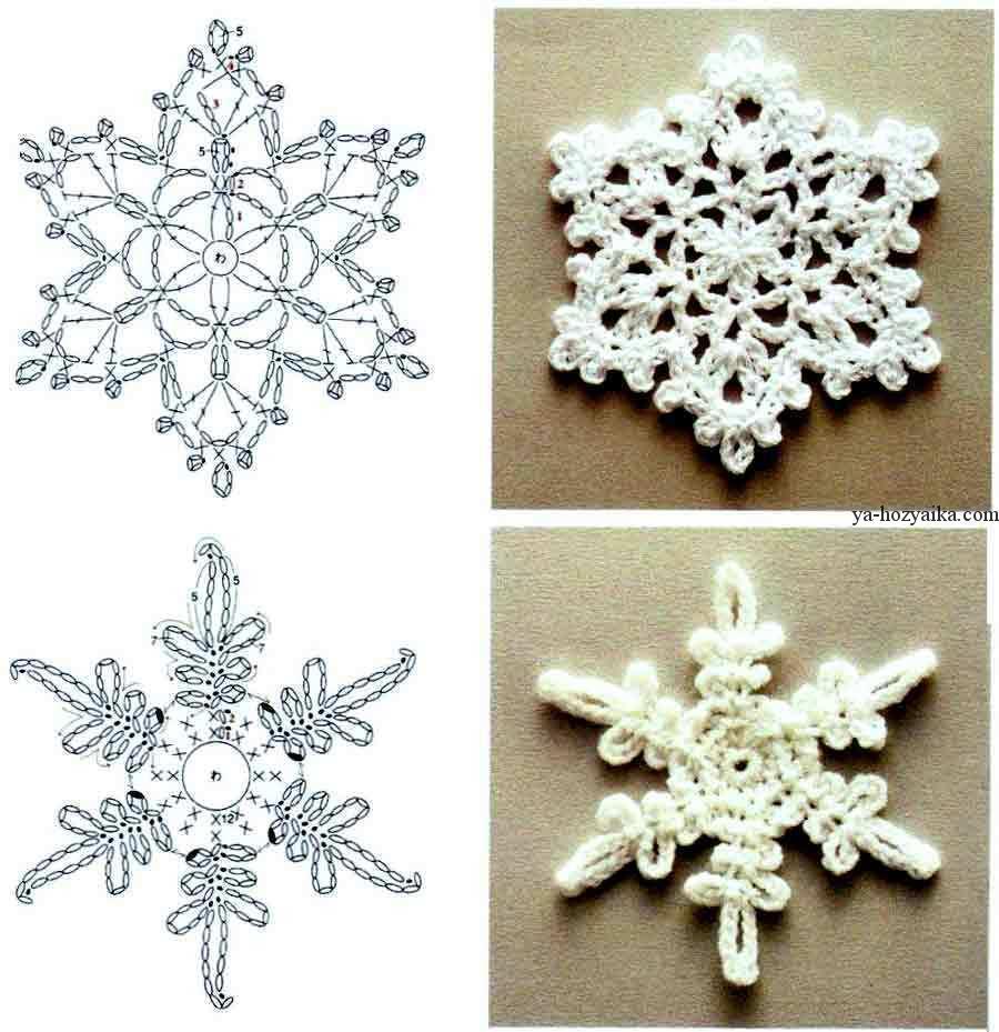 ажурные снежинки схемы вязания