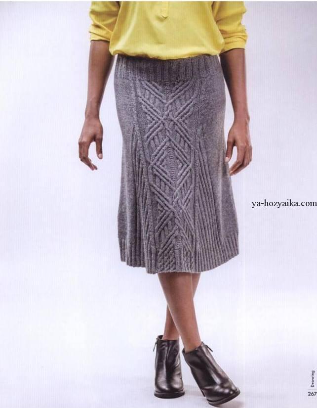 Женская вязаная юбка спицами с аранами. Связать теплую ...