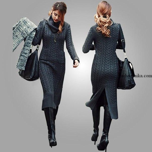 длинное вязаное платье спицами модное платье из кос спицами