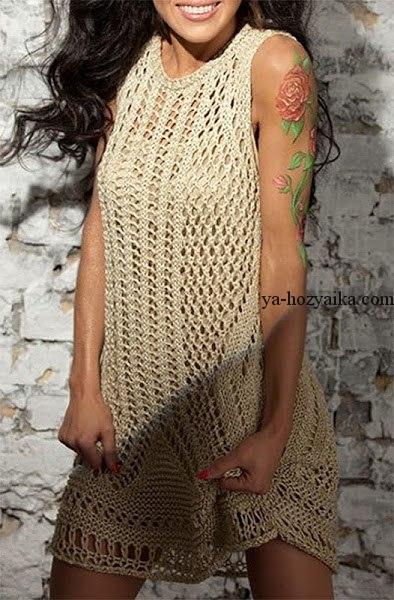 481864383e2 Бежевое платье ажурное Zara. Стильное платье для лета спицами своими ...