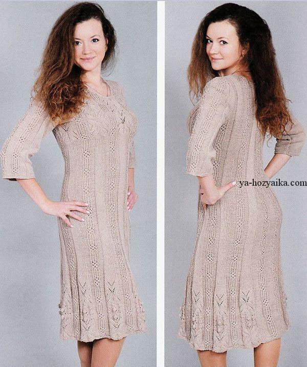 ae11b277e0b5039 Платье вязаное спицами.