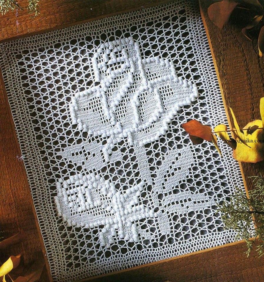Филейное вязание кофта розы