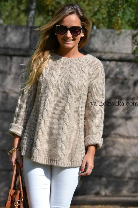 свитер оверсайз спицами узором из кос схемы вязания свитеров Oversize