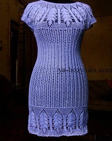 платье, круглая кокетка, схема, крючком