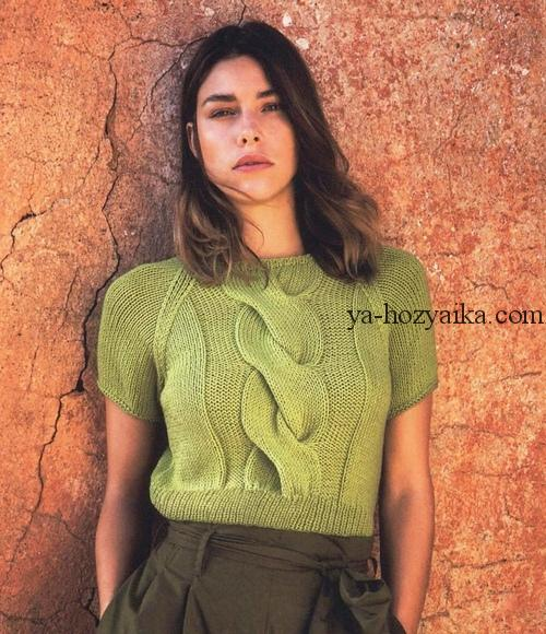 короткий пуловер с рукавом реглан короткие вязаные свитера схемы