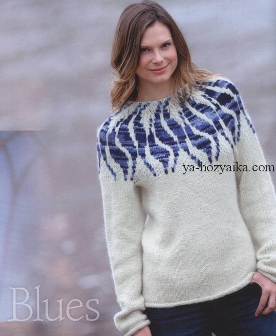 пуловер с круглой кокеткой спицами жаккард жаккардовые узоры для