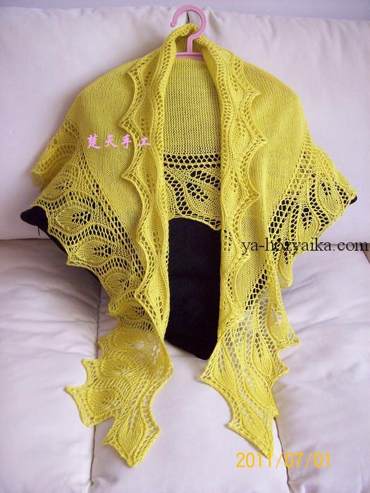 шаль ,схема, обвязка, узор листья, спицами, связать