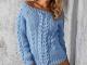 пуловер, узор из кос, схемы, модный, 2019
