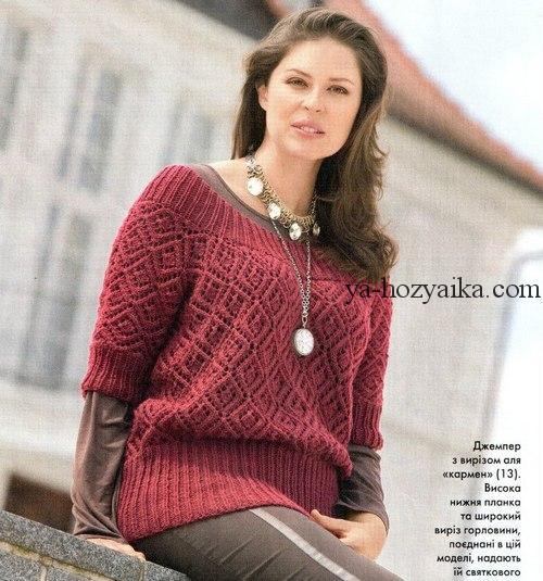 пуловеры спицами бордовый схемы вязания спицами пуловеров для женщин