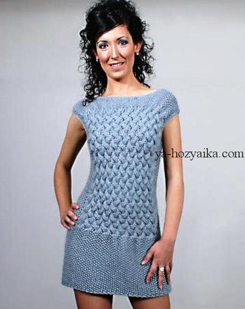 вязаное платье спицами мини платье спицами как вязать