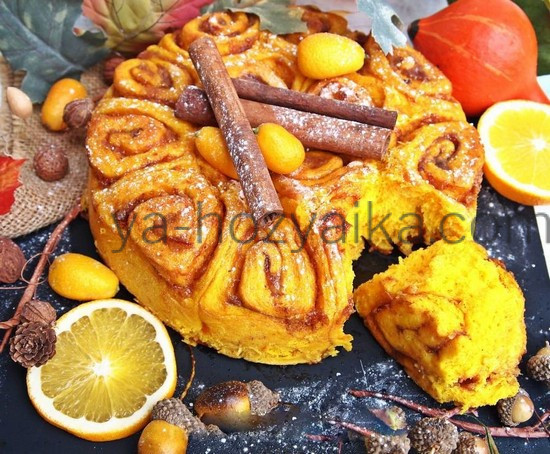 Дрожжевой пирог с тыквой и апельсином