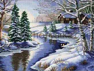 Зимний пейзаж вышивка