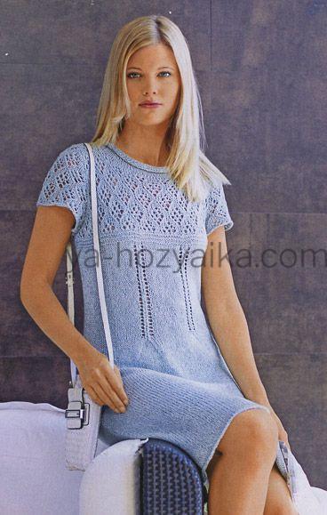 платье с ажурной кокеткой спицами